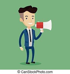 homme affaires, megaphone., parler