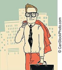 homme affaires, megapolis, fond, bureau, vêtements