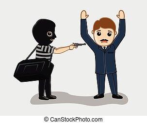 homme affaires, menacer, voleur