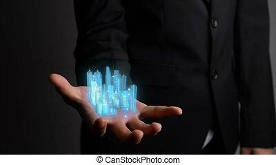 homme affaires, modèle, tient, augmented, ville, technologie...