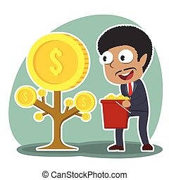 homme affaires, monnaie, arbre, africaine, récolte