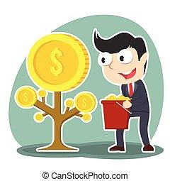 homme affaires, monnaie, arbre, récolte