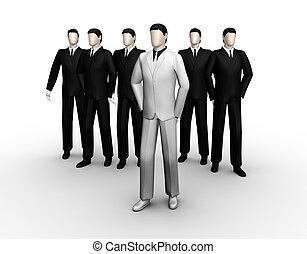 homme affaires, montré, six, groupe