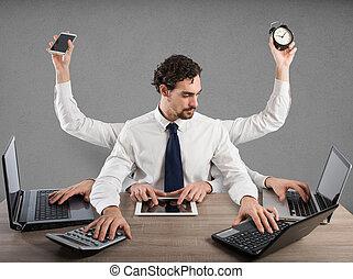 homme affaires, multitâche