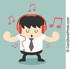 homme affaires, musique écouter