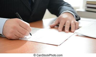 homme affaires, note écriture