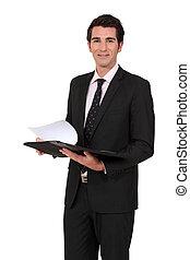 homme affaires, notes, lecture, réunion