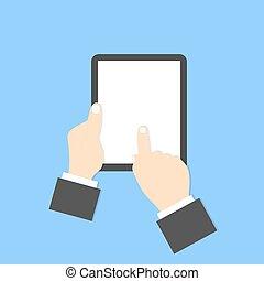 homme affaires, numérique, tenue, tablet.