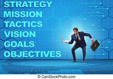 homme affaires, objectifs, confondu, stratégique