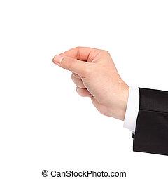homme affaires, objet, isolé, tenant main