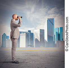 homme affaires, observe, distance
