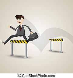 homme affaires, obstacles, dessin animé