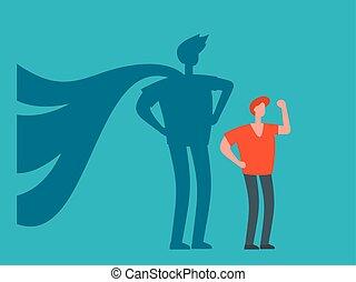 homme affaires, ombre, concept, superhero