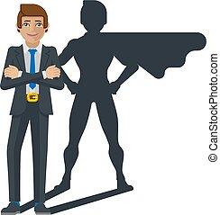homme affaires, ombre, superhero, dessin animé, mascotte