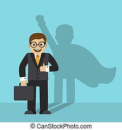 homme affaires, ombre, superhero