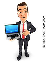 homme affaires, ordinateur portable, 3d