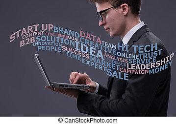 homme affaires, ordinateur portable, concept, jeune, business