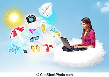 homme affaires, ordinateur portable, jeune, nuage, séance