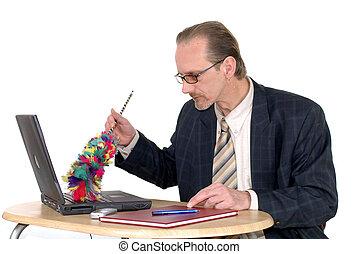 homme affaires, ordinateur portable, nettoyer