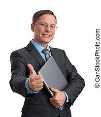 homme affaires, ordinateur portable, projection, haut, pouces