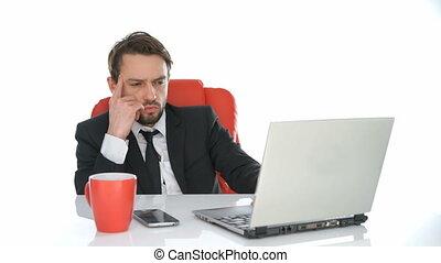 homme affaires, ordinateur portable, sien, fonctionnement, séance