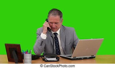homme affaires, ordinateur portable, sien, personnes agées, fonctionnement