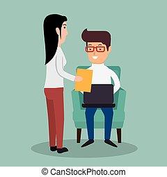 homme affaires, ordinateur portable, travail, document, secrétaire