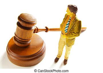 homme affaires, ou, avocat, figure, debout, côté, a, marteau