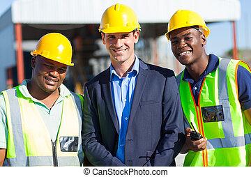 homme affaires, ouvriers, construction