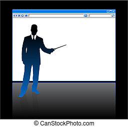 homme affaires, page, fond, vide, navigateur web