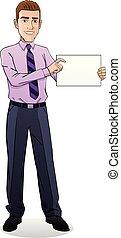 homme affaires, papier, jeune, tenir document