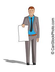 homme affaires, papier, jeune, tenue, vide