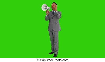 homme affaires, par, gris, cris, haut-parleur, complet