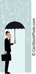 homme affaires, parapluie, britannique, sous