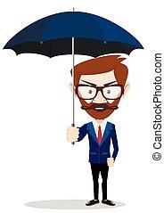 homme affaires, parapluie, dessin animé