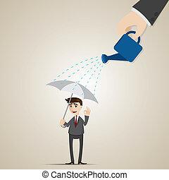 homme affaires, parapluie, dessin animé, pluie, sous