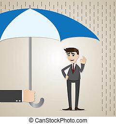 homme affaires, parapluie, dessin animé, sous