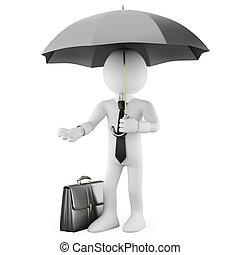 homme affaires, parapluie