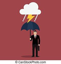 homme affaires, parapluie, orage