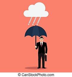 homme affaires, parapluie, pluie
