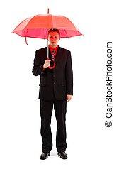 homme affaires, parapluie, rouges