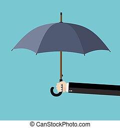 homme affaires, parapluie, tenant main