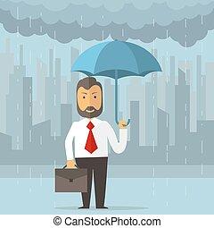 homme affaires, parapluie, tenue