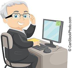 homme affaires, personne agee, informatique, homme