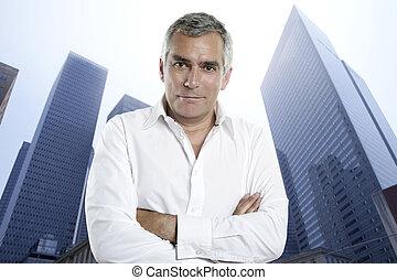 homme affaires, personne agee, urbain, ville, bâtiments...