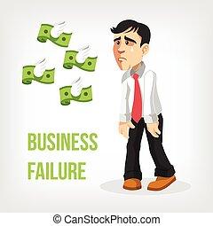 homme affaires, perte, argent