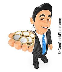 homme affaires, pièces, 3d, euro