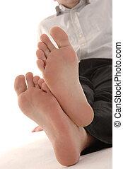 homme affaires, pieds nue