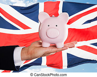 homme affaires, piggybank, britannique, tenue