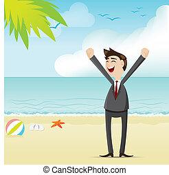 homme affaires, plage, dessin animé